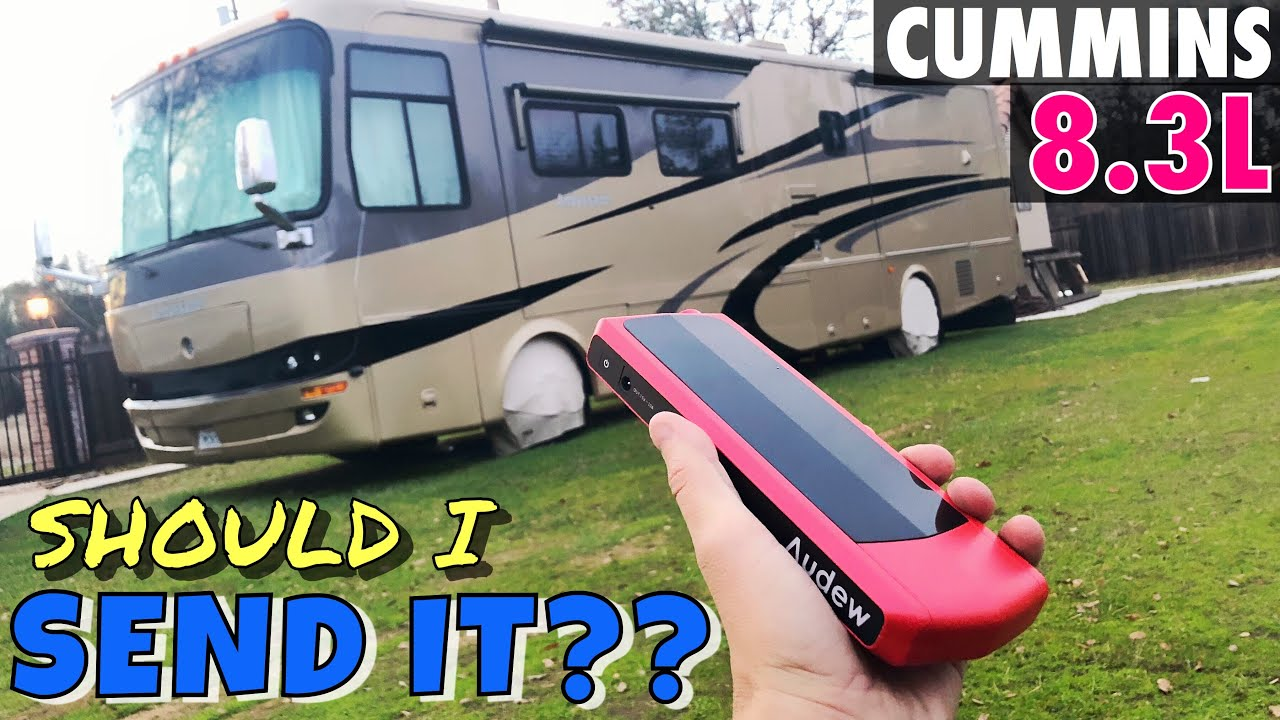 8.3L Cummins Will it Crank it?? AUDEW Battery Jumper Test On a 40' MotorHome!