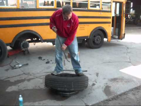 Changing a School Bus Tire