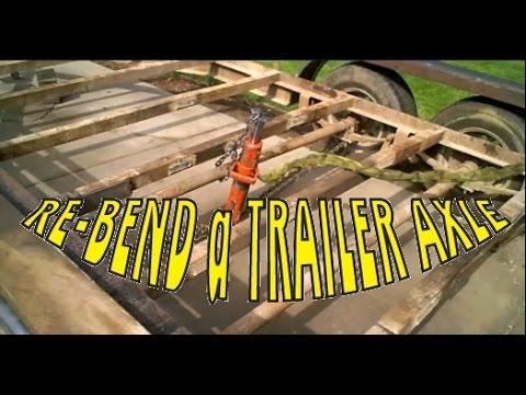Straighten bent trailer axle with a Porta Power hydraulic ram