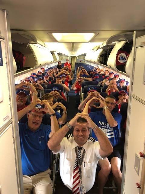 Kansas Honor Flight veterans enjoying the a flight to Washington D.C.