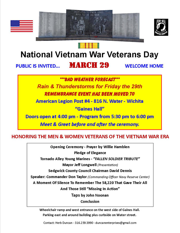 Vietnam War Remembrance Day Ceremony Will Be Conducted By The Kansas Honor Flight at Veterans Memorial Park in Wichita, Kansas