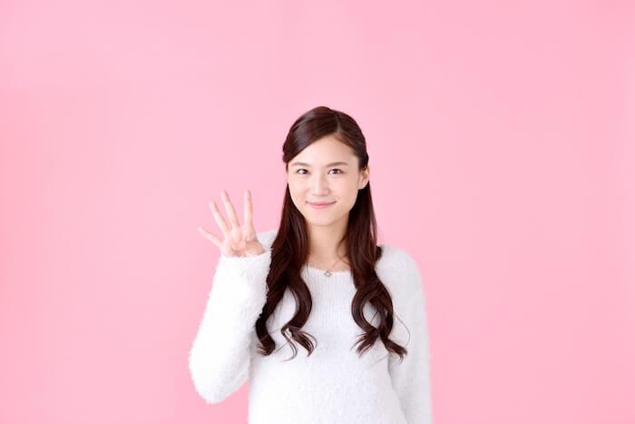 4本指を立てている女性の画像