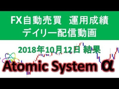 本当に稼げるFX自動売買ツール【Atomic System α】運用成績デイリー配信動画 2018年10月12日結果報告