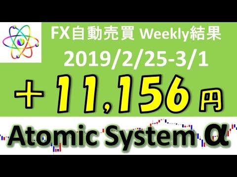 FX自動売買ツール【Atomic System α】 EA運用成績 2019/2/25-3/1 weekly運用結果