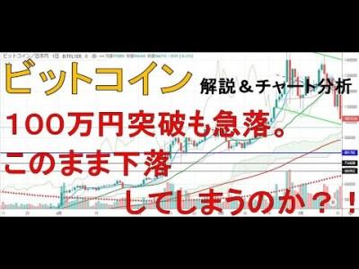 【仮想通貨 ビットコイン(BTC)】100万突破も急落。このまま下落してしまうのか?!今後のシナリオをチャート分析1.19
