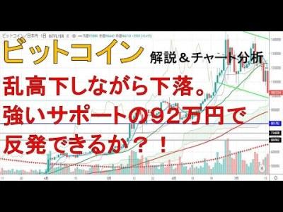 【仮想通貨 ビットコイン(BTC)】乱高下しながら下落。強いサポートの92万で反発できるか?!今後のシナリオをチャート分析1.23