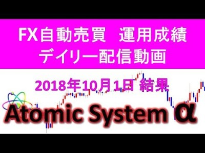 本当に稼げるFX自動売買ツール【Atomic System α】運用成績デイリー配信動画 2018年10月1日結果報告