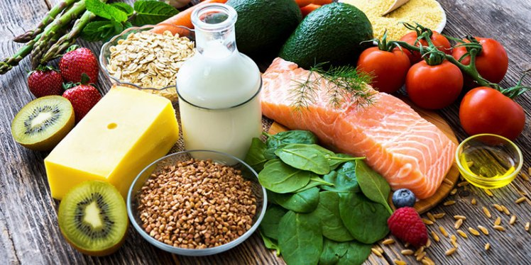 Healthy-food-including-lean-meats-low-fat-milk-whole-grains-and-vegetables