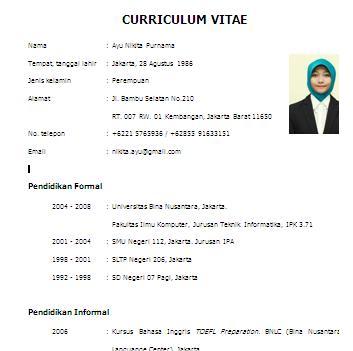 contoh format curriculum vitae untuk pemateri