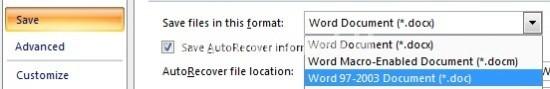 Menyimpan File Word docx ke doc