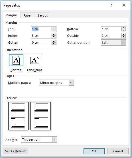 Setting Layout Untuk Mencetak Halaman Bolak-Balik di Ms. Word