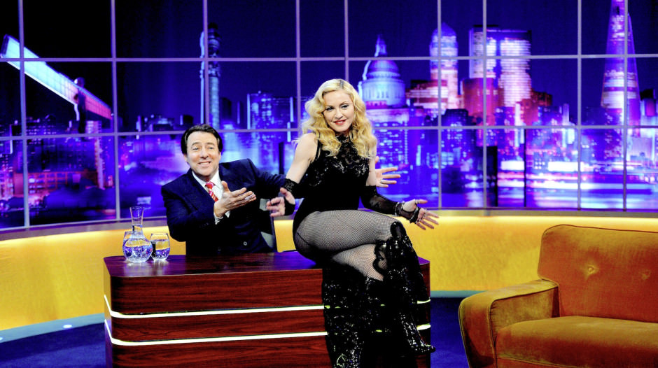 EXCLUSIVE - EDITORIAL USE ONLY / NO MERCHANDISING Mandatory Credit: Photo by Dave Hogan/Hotsauce/REX (4462483c) Jonathan Ross and Madonna 'The Jonathan Ross Show - Madonna Special' TV Programme, London, Britain. - 14 Mar 2015 The pop legend appears in a very special episode of The Jonathan Ross Show, which will air in mid-March, talking for the first time about her fall at the recent Brit Awards and her thoughts on her children taking drugs. The Jonathan Ross Show Madonna Special will broadcast on ITV on Saturday March 14. The next episode (Saturday February 28) features Sigourney Weaver, Thierry Henry, Martin Clunes, Kanye West and Tracey Emin, airing at 9.40pm on ITV1.