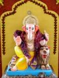 Ganpati seated on a lion