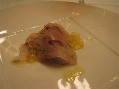 里芋・鮃をサンドした岩魚の燻製・岩魚の卵