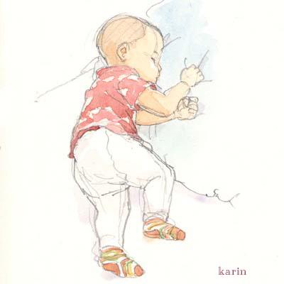 赤ちゃんの水彩画1