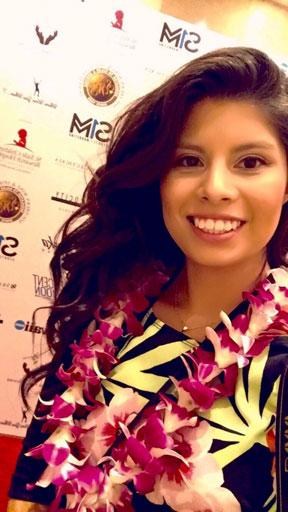 Ka 'Ohana reporter Itzel Contreras Mendez taking a selfie while covering the Pro Bowl Reception at the Top of Waikiki restaurant – Itzel Contreras Mendez