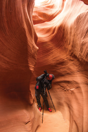 Lum sets up a shot at Antelope Canyon in Arizona – Courtesy of Chase Lum