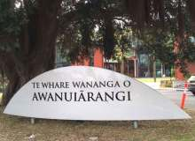 A sign marks the entrance to WCC's sister college in Aotearoa –Cynthia Lee Sinclair