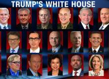 Top row, left to right: Mike Pence, Rex Tillerson, James Mattis, John Kelly, Jeff Sessions, Mike Pompeo. Middle row, left to right: Scott Pruitt, Rick Perry, Steven Mnuchin, Andrew Puzder, Tom Price, Michael Flynn, Nikki Haley. Bottom row, left to right: Reince Priebus, Steven Bannon, Wilbur Ross, Elaine Chao, Ben Carson, Betsy DeVos, Linda McMahon. Michael Flynn and Andrew Puzder have been replaced by H.R. McMaster and R. Alexander Acosta respectively – Courtesy of Livetradingnews.com