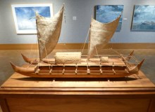 A replica of the Hokule'a and other Polynesian voyaging art pieces were on display at Gallery 'Iolani from January 29 to March 5 –Darryl Kaneyuki