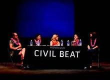 Panelists discuss the late Patsy T. Mink and Title IX in Paliku Theatre - Leighland Tagawa