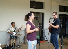 Club co-founder Jeff Ho, officer Hannah Bailey and member Michael Macintosh jam together outside the cafeteria in Hale' Akoakoa - Justice Denis-Lui