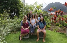 (from left) Susannah Shores, Adviser Kimberlee Bassford, Patrick Hascall, Eliana Christianson, Cynthia Lee Sinclair, Hannah Bailey and Leighland Tagawa – Photo by Patrick Hascall