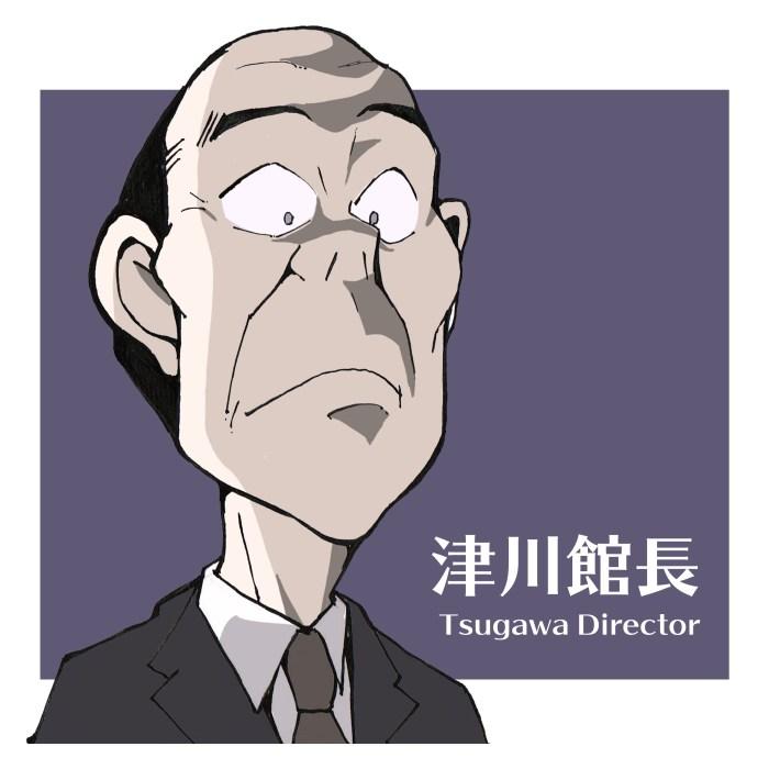 津川館長の似顔絵