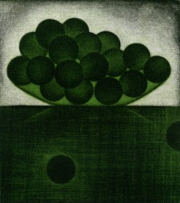 A bunch of green grapes・一房の緑の葡萄 Color Mezzotint・Two plates two colors・Gampi-Paper(Mino) カラーメゾチント・2版2色・雁皮刷り・美濃和紙 image size H9.8cmxW8.9cm ed.30 2011