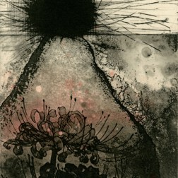 Lycoris・彼岸花 Etching・Mezzotint・Aquatint・Two plates two colors・Gampi-Paper(Mino) エッチング・メゾチント・アクアチント・2版2色・雁皮刷り・美濃和紙 image size H18.2cmxW10.4cm ed.30 2012