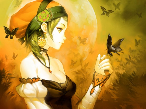 Anime Girl with Butterfly