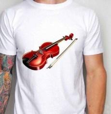 Kaos Gambar Biola 3D, Violin 3D T-Shirt