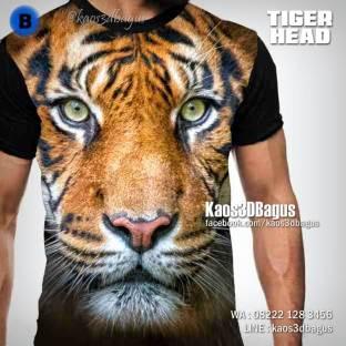 Kaos Kepala Harimau, Kaos TIGER HEAD, Kaos 3D, Kaos Macan