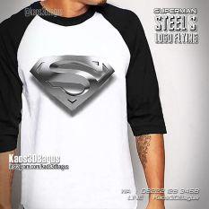 Kaos SUPERMAN LOGO - Kaos3D Superhero - Steel S Logo Raglan