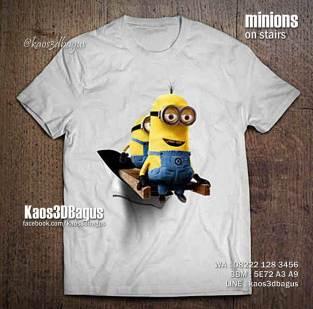 Kaos MINIONS, Kaos 3 Dimensi Tema Minions, Kaos MINIONS ON STAIRS, Kaos Despicable Me, Minions Kevin, Minions Bob, Kaos 3D Bagus, Kaos 3D Umakuka, Kaos3D