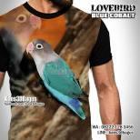 Kaos LOVEBIRD BIRU, Kaos LOVEBIRD MANIA, Kaos3D, Burung Kicau, Seragam Klub Burung, Pecinta Lovebird, Kaos LOVEBIRD BLUE COBALT