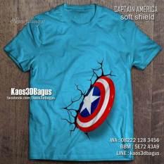 Kaos TAMENG CAPTAIN AMERICA, Kaos 3D Captain America, Kaos3D, Kaos 3 Dimensi Captain America Shield, Kaos 3D Umakuka, Kaos 3D Bagus