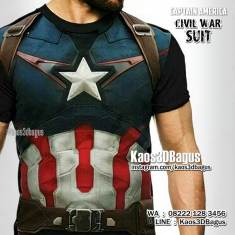Kaos CAPTAIN AMERICA CIVIL WAR, Captain America Costume, Kaos SUPERHERO, THE AVENGERS, Chris Evans, Kaos3DBagus