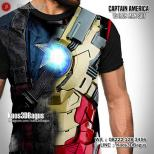 Kaos 3 Dimensi, Captain America VS Iron Man, Kaos The Avengers, Kaos3D Tema Superhero