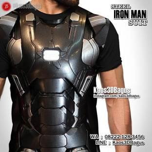 Kaos TONY STARK, Iron Man Steel Suit, Kaos3D, Kaos SUPERHERO, Baju Besi Iron Man, Iron Man Fans Indonesia