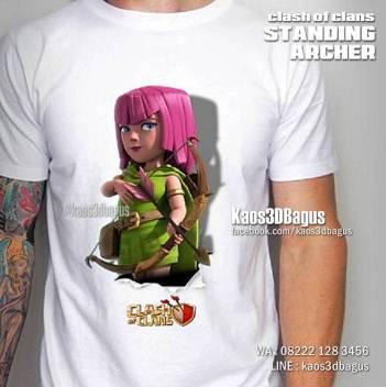 Kaos STANDING ARCHER, Kaos 3D, Kaos COC, Clash Of Clans, https://www.facebook.com/kaos3dbagus, Umakuka, WA : 08222 128 3456, LINE : @kaos3dbagus