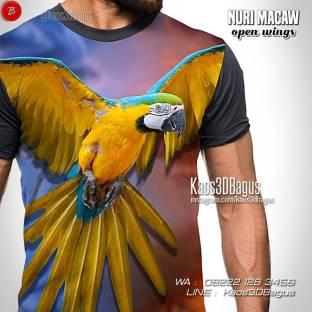 Kaos 3D, Burung Parrot, Burung Nuri Macaw, Sun Conure, Kaos Burung Macaw