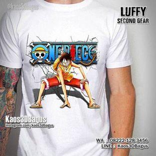 Kaos ONE PIECE LOVER, Kaos LUFFY, Second Gear, Kao3D, Kaos3DBagus, Kaos Karakter ONE PIECE, Film Animasi One Piece
