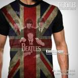 Kaos The Beatles, Kaos3D, Bendera Inggris, Let It Be, Love Me Do, Paul Mc Cartney, Ringo Starr, George Harrison