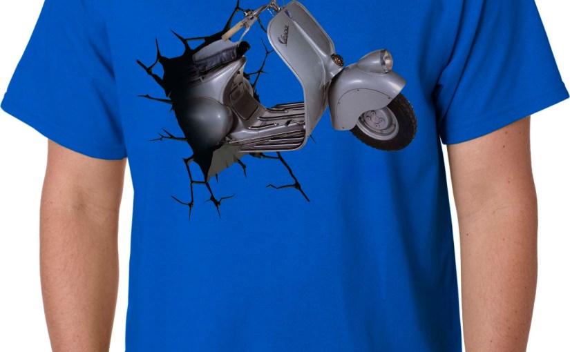 Kaos Vespa 3D Blue Left