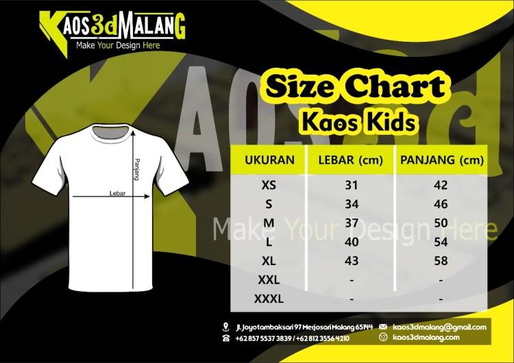 Size Chart atau Jenis Ukuran Kaos Kids