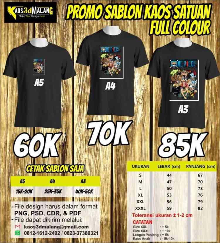 Promo Sablon Kaos Satuan Full Color - Kota Malang