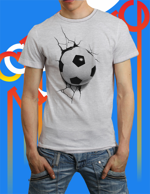 cool 3d t-shirt ball hit the wall