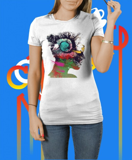 cool female t-shirt: abstract girl artwork#1