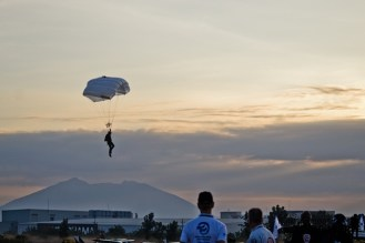 A skydiver with Mt. Arayat